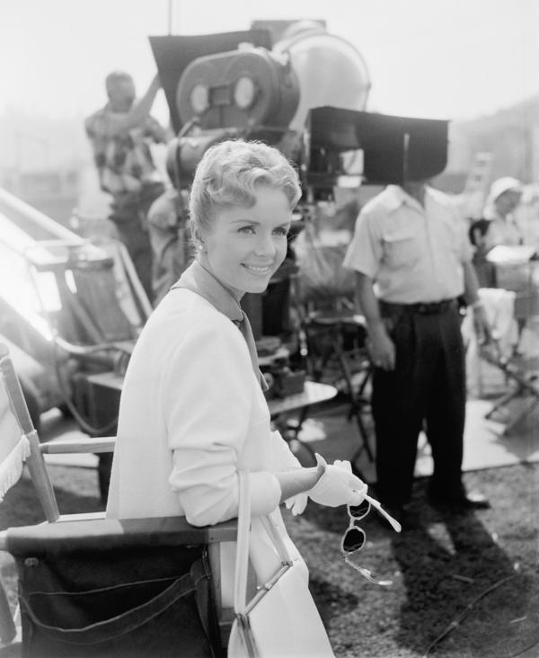 Debbie Reynolds on the set of <em>For Love or Money</em>.