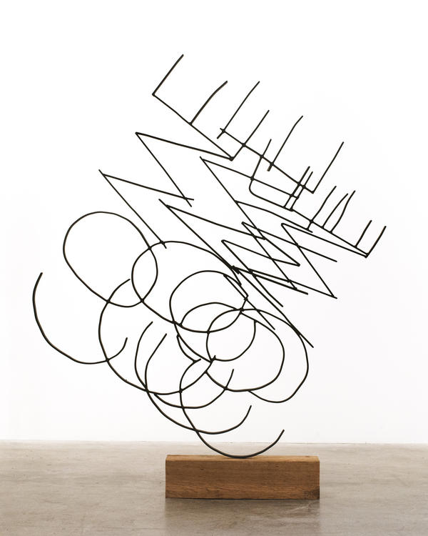 Nick Fagan, <em>COME COME</em>, steel and wood, 64 inches by 54 inches by 6 inches; 2016.