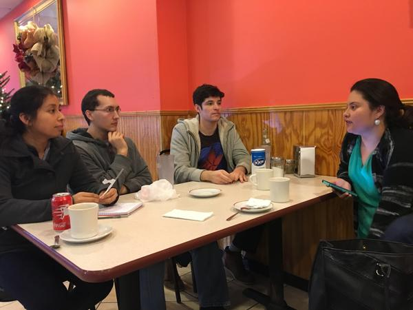 Viridiana Martinez (right) discusses immigration activism in Durham, N.C., with young people hoping to become more involved in helping immigrants in the country illegally.
