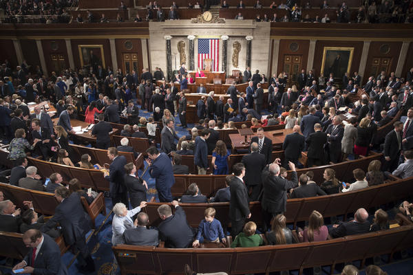Members of the House of Representatives, some joined by family, gather in the House chamber on Capitol Hill in Washington, Tuesday, Jan. 3, 2017, as the 115th Congress gets under way. (Scott Applewhite/AP)