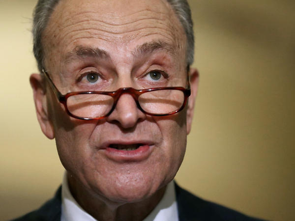 Sen. Charles Schumer, D-N.Y., talks to reporters Wednesday at the U.S. Capitol.