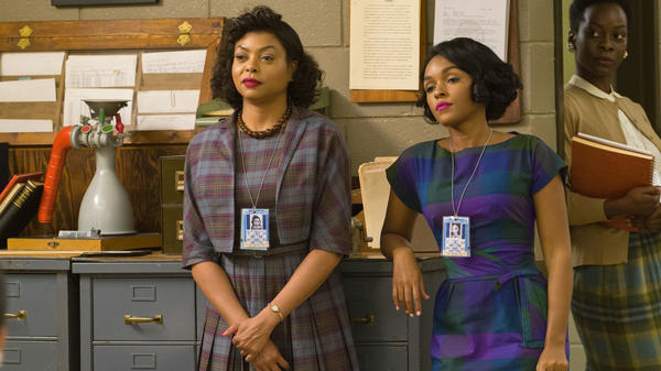 Katherine G Johnson (Taraji P. Henson) as Katherine G. Johnson and Mary Jackson (Janelle Monáe) in <em>Hidden Figures</em>.