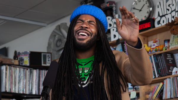 D.R.A.M. performs a Tiny Desk Concert on Jan. 4, 2017. (Claire Harbage/NPR)