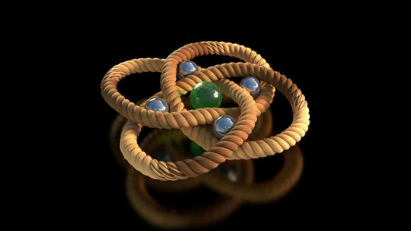 For the first time, scientists have synthesized a three-stranded molecular braid that twisted into a knot with eight crossings, as in this rendering.