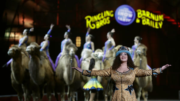 Ringling Bros. and Barnum & Bailey Ringmaster Kristen Michelle Wilson performs Saturday, in Orlando, Fla.