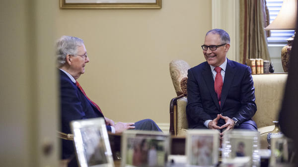 Senate Majority Leader Mitch McConnell, R-Ky., meets Jan. 6 with Environmental Protection Agency Administrator-designate Scott Pruitt (right) on Capitol Hill. Pruitt's confirmation hearing is scheduled for 10 a.m. ET on Wednesday.