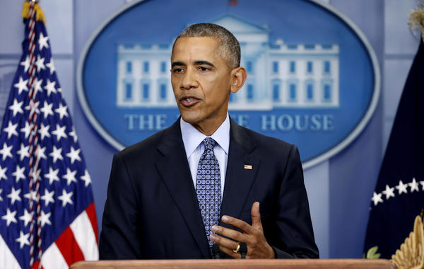 President Obama speaks during his final presidential news conference Wednesday in the briefing room of the White House.