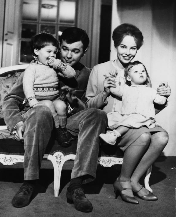 Hall had six children by four wives. He's pictured above with actress and dancer Leslie Caron and their children Christopher and Jennifer at their Montpelier Square home, around 1960.