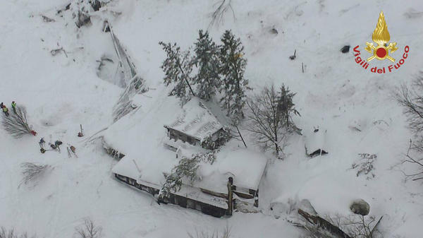 The Rigopiano Hotel, shown early on Thursday, was hit by an avalanche in Farindola, Italy, after earthquakes shook the region on Wednesday.