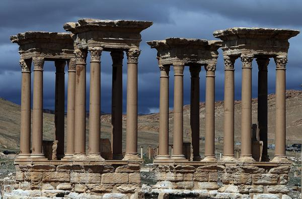 A 2015 photo shows the Tetrapylon (Monumental Entrance), which was reconstructed after 1963 by the Directorate of Antiquities of Syria, in the ancient oasis city of Palmyra. The ancient structure has reportedly been destroyed by ISIS.
