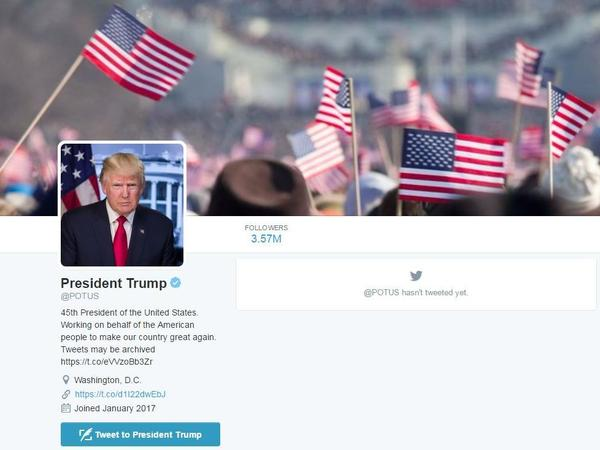 Donald Trump inherits the @POTUS Twitter account created during the Obama administration.