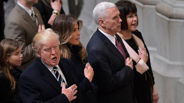 President Donald Trump, first lady Melania Trump, Vice President Mike Pence and Karen Pence attend the National Prayer Service at the National Cathedral on Saturday.