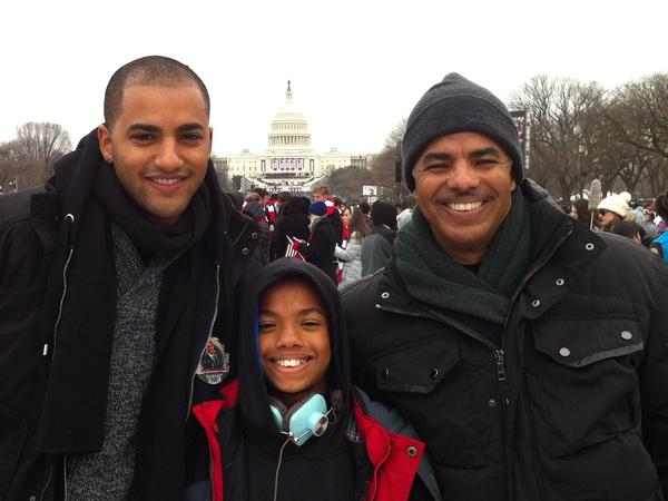 NPR's Keith Woods (right), with sons Keith Jr. (left) and Noah, attend the 2013 inauguration of President Barack Obama.
