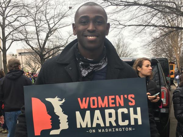 Eugene Beckley, a 28-year-old software designer from Ellicott City, Md., says he was thinking of his mother and female cousins when he came to the Women's March in Washington, D.C.