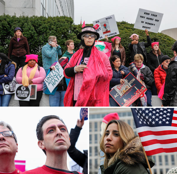 Many protesters wore pink or other feminist iconography at the Women's March on Washington.