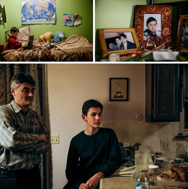 The Rahimovs live in a spare, tidy duplex in Kansas City, Mo. Their youngest son, Rasool (top left) is a fan of Pokémon and loves computer games. Murad, pictured below with his father in the family's kitchen, is now in high school and says his dream is to work for NASA.