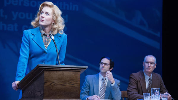Sarah Weddington, played by Sarah Jane Agnew, makes their Supreme Court argument facing the audience, as audio of the real justices' responses plays from the back of the theater.