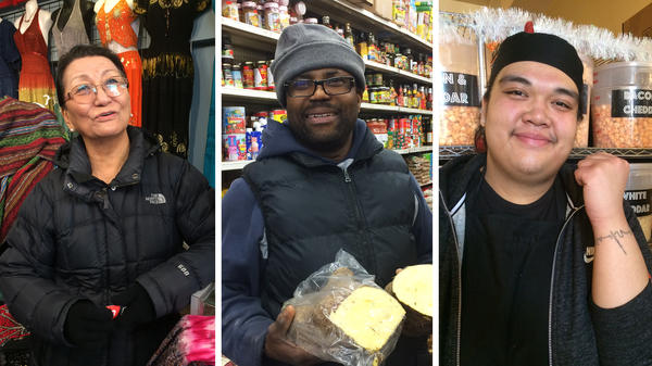 "These three ""new Canadians,"" as immigrants are called in Canada, have made Toronto their home. They work or own a business at Kensington Market. (Left) Dolkar Tsering was born in Tibet and grew up in Nepal. (Center) Michael Thomas came from Jamaica to reunite with family in 1987. (Right) Wynnona Yumol came to Canada from the Philippines with her parents when she was 2 years old."