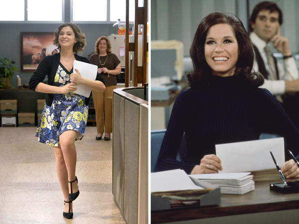 (Left) Rachel Bloom as Rebecca and Donna Lynne Champlin as Paula in <em>Crazy Ex-Girlfriend</em>. (Right) Mary Tyler Moore as Mary Richards on <em>The Mary Tyler Moore Show </em>in 1971.