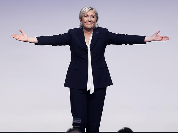 Far-right leader and candidate in next spring's French presidential elections, Marine Le Pen, acknowledges applause at a meeting of European nationalists in Koblenz, Germany, last weekend.