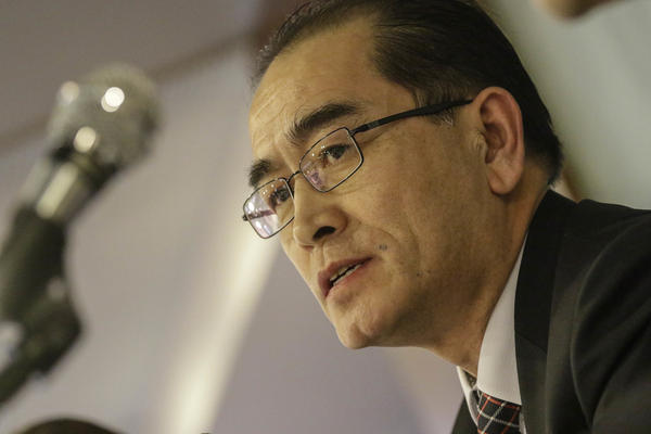 Former North Korean deputy ambassador to London Thae Yong Ho speaks during a briefing on Wednesday in Seoul.