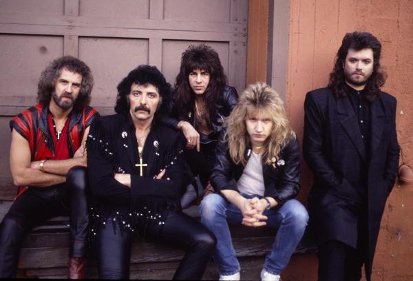 (Left to right) Black Sabbath, 1985: Geoff Nicholls, Tony Iommi, Dave Spitz, Eric Singer and Glenn Hughes.