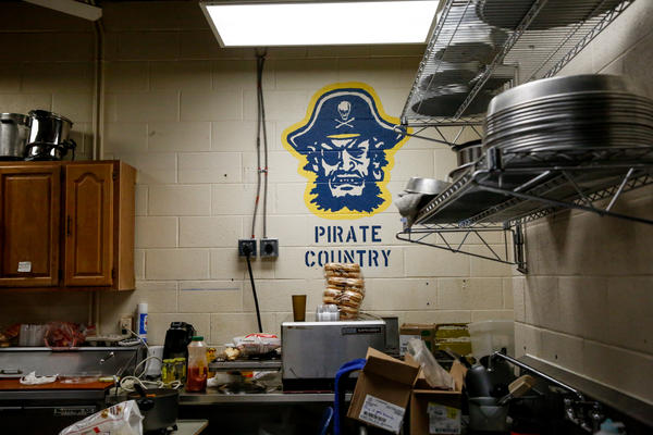 Behind the concession stand at the Independence Community College field house.