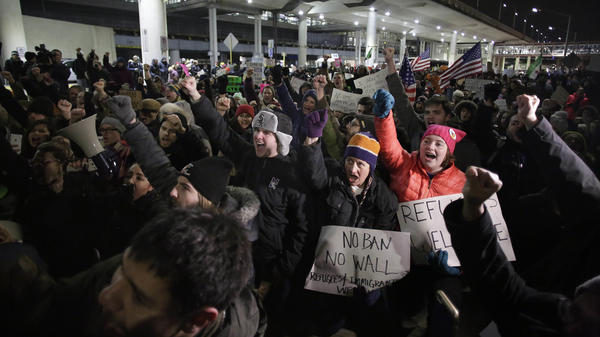 Demonstrators rallied at Chicago O'Hare International Airport.