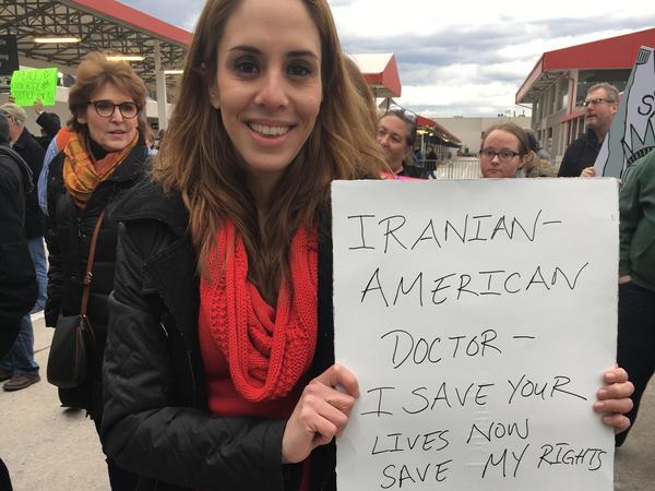 Protester Kathy Taasoobshirazi in Atlanta, G.A.