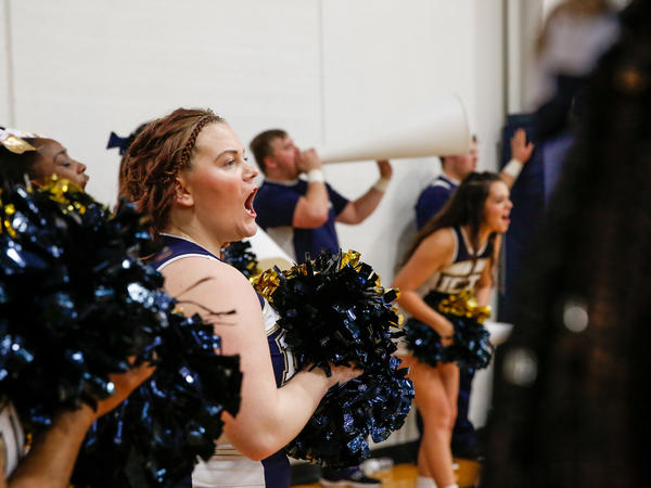 Cheerleaders encourage the Independence Community College Pirates as they play the Coffeyville Red Ravens in Kansas.