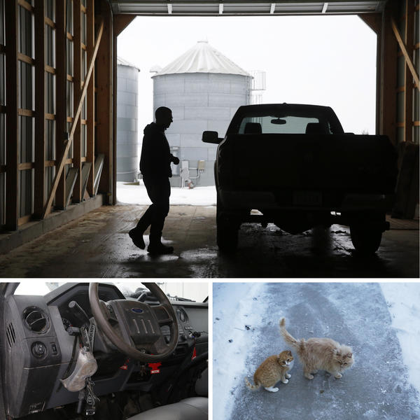 (Top) Ryan Kress can't imagine living anywhere else but right here in Buchanan County, Iowa. (Bottom left) Gear — like this headlamp and goggles — fill much of Kress's Ford F-250 pickup truck. (Bottom right) Barn cats outside the Kress home.