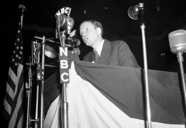 Charles Lindbergh speaks at a rally of the America First Committee at Madison Square Garden in New York, on May 23, 1941. Lindbergh was a leading voice of opposition to U.S. involvement in World War II up until the Japanese attack on Pearl Harbor.