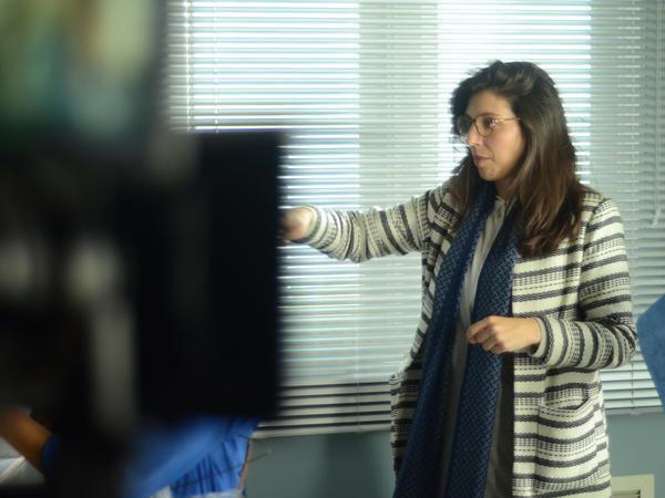 "Director Catalina Aguilar Mastretta behind the scenes of ""Everybody Loves Somebody."""
