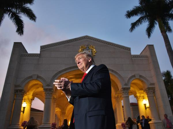 President Trump arrives to watch the Super Bowl at Trump International Golf Club in West Palm Beach, Fla., on Sunday.