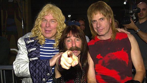 Michael McKean, left, Christopher Guest, right, and Harry Shearer at the re-release premiere of <em>This Is Spinal Tap</em>, Sept. 5, 2000.