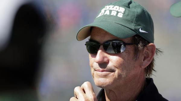 In this Oct. 10, 2015, photo, Baylor head coach Art Briles watches during the second half of an NCAA college football game against Kansas in Lawrence, Kan.