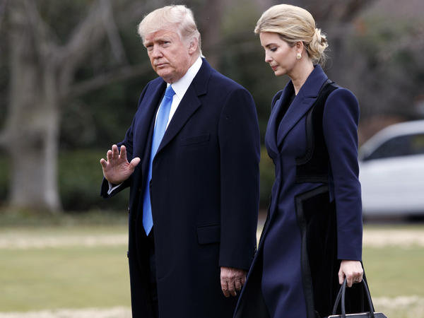 President Trump and his daughter Ivanka walk toward Marine One on the South Lawn of the White House in early February.
