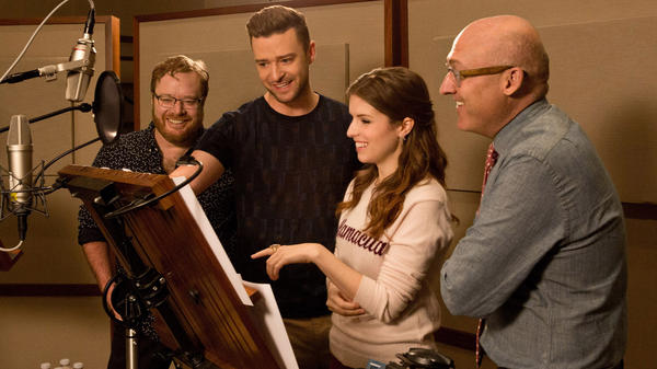 Justin Timberlake joins Walt Dohrn, Anna Kendrick and director Mike Mitchell in the recording studio during the making of <em>Trolls.</em>