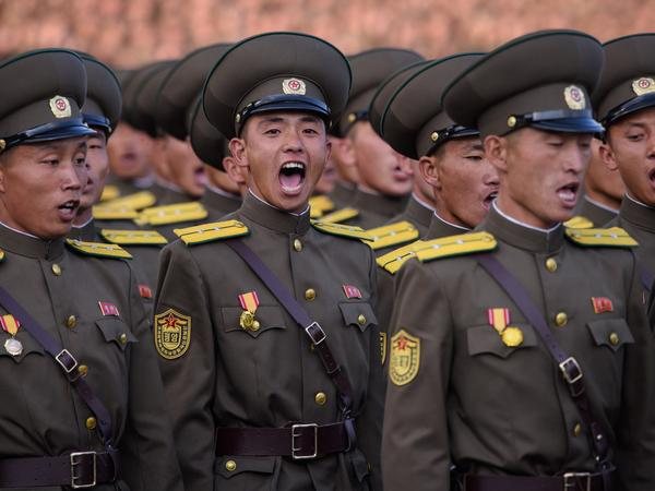 North Korean soldiers in a mass military parade at Kim Il-Sung square in Pyongyang on Oct. 10, 2015. North Korea conducted its first missile test of the year Sunday morning.