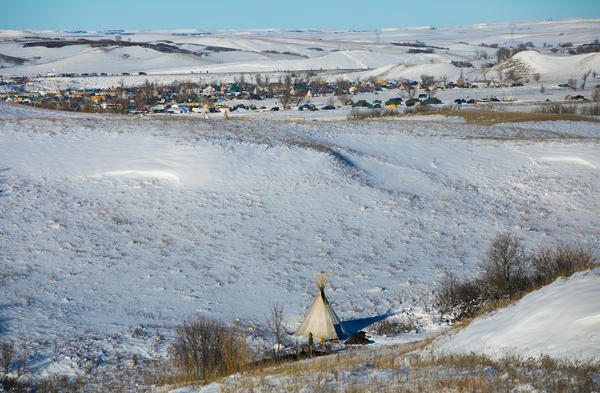 Oceti Sakowin Camp occupied by protesters can be seen in the distance on Dec. 4, 2016.