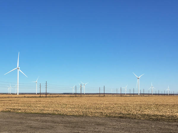 A wind farm near Elizabeth City, N.C., is built on agricultural land that is also used to cultivate crops like corn, soybeans, cotton and potatoes, along with small areas of timberland. Landowners enter into lease agreements with the wind power developer, and receive about $6,000 per year per wind turbine.
