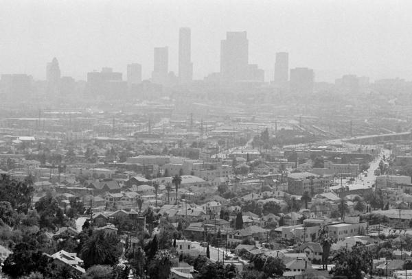 Smog hovers over the Los Angeles skyline on July 15, 1978.