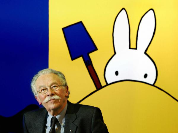 Dick Bruna at the opening of his 2005 exhibit of Miffy creations in the Hague. Bruna's iconic white rabbit proved to be popular worldwide.