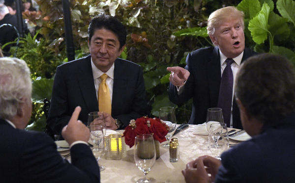 President Trump hosts Japanese Prime Minister Shinzo Abe at Mar-a-Lago in Palm Beach, Fla., on Feb. 10. North Korea tested a missile during Abe's visit last weekend, one of several provocative actions by U.S. rivals during the first month of Trump's presidency.