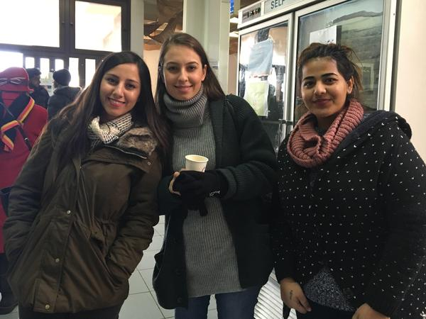 Khadejah Ghawamneh, 20, a business major, (right) says she supports a Palestinian state alongside Israel. Her friends Noor Bakri, 21, (center) and Basima Jaber, 21 (left), have lost hope in it.