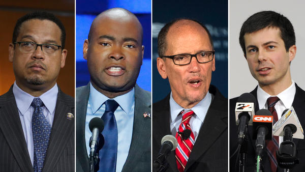 From left: Democrats Keith Ellison, Jaime Harrison, Tom Perez and Pete Buttigieg are competing to become the next chair of the Democratic National Committee. Other candidates include Sally Boynton Brown and Jehmu Greene.