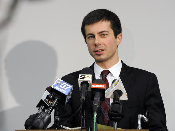South Bend Mayor Peter Buttigieg speaks to reporters in South Bend, Ind., in 2013.