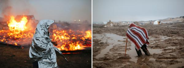 (Left) Campers set structures on fire ahead of the Army Corp's original 2 p.m. Wednesday deadline to leave the Oceti Sakowin camp. (Right) Mud has made traversing parts of the camp treacherous. The governor of North Dakota set in motion the current evacuation deadline citing flooding concerns.