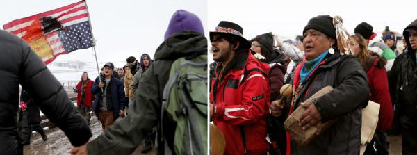 Protestors including Fish Water, 53, (left, center) and Dan Nanamkin, 49, of the Nez Perce Nation (right, center) participate in a prayer march out of the Oceti Sakowin camp ahead of the evacuation deadline.