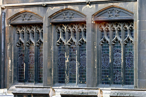 Palace windows show signs of age and decay.